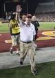 Aug 29, 2013; Minneapolis, MN, USA; Minnesota Golden Gophers head coach Jerry Kill waves to fans after beating the UNLV Rebels at TCF Bank Stadium. The Gophers won 51-23. Mandatory Credit: Jesse Johnson-USA TODAY Sports