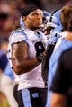 Aug 29, 2013; Columbia, SC, USA; North Carolina Tar Heels tight end Eric Ebron (85) on the sidelines against the South Carolina Gamecocks in the fourth quarter at Williams-Brice Stadium. Mandatory Credit: Jeff Blake-USA TODAY Sports