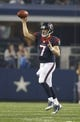 Aug 29, 2013; Arlington, TX, USA; Houston Texans quarterback Case Keenum (7) throws a pass in the first half of the game against the Dallas Cowboys at AT&T Stadium. Houston beat Dallas 24-6. Mandatory Credit: Tim Heitman-USA TODAY Sports
