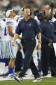 Aug 29, 2013; Arlington, TX, USA; Dallas Cowboys head coach Jason Garrett on the sidelines during the first half of the game against the Houston Texans at AT&T Stadium. Houston beat Dallas 24-6. Mandatory Credit: Tim Heitman-USA TODAY Sports