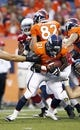 Aug 29, 2013; Denver, CO, USA; Denver Broncos running back Ronnie Hillman (21) with the ball in the first quarter against the Arizona Cardinals at Sports Authority Field at Mile High. The Cardinals won 32-24. Mandatory Credit: Isaiah J. Downing-USA TODAY Sports