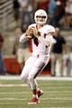 Aug 29, 2013; Fresno, CA, USA; Fresno State Bulldogs quarterback Derek Carr (4) looks to throw a pass against the Rutgers Scarlet Knights in overtime at Bulldog Stadium. The Bulldogs defeated the Scarlet Knights 52-51 in overtime. Mandatory Credit: Cary Edmondson-USA TODAY Sports