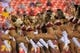 Aug 19, 2013; Landover, MD, USA; Washington Redskins cheerleaders dance on the field against the Pittsburgh Steelers at FedEx Field. Mandatory Credit: Geoff Burke-USA TODAY Sports