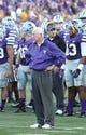 Aug 30, 2013; Manhattan, KS, USA; Kansas State Wildcats head coach Bill Snyder watches his team warm up before the start of a game against the North Dakota State Bison at Bill Snyder Family Stadium. Mandatory Credit: Scott Sewell-USA TODAY Sports