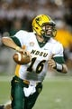Aug 30, 2013; Manhattan, KS, USA; North Dakota State Bison quarterback Brock Jensen (16) drops back to pass during a 24-21 win against the Kansas State Wildcats at Bill Snyder Family Stadium. Mandatory Credit: Scott Sewell-USA TODAY Sports