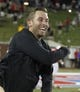 Aug 30, 2013; Dallas, TX, USA; Texas Tech Red Raiders head coach Kliff Kingsbury celebrates a touchdown in the fourth quarter of the game against the Southern Methodist Mustangs at Gerald J. Ford Stadium. Texas Tech won 41-23. Mandatory Credit: Tim Heitman-USA TODAY Sports