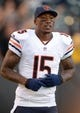 Aug 23, 2013; Oakland, CA, USA; Chicago Bears receiver Brandon Marshall (15) against the Oakland Raiders at O.co Coliseum. Mandatory Credit: Kirby Lee-USA TODAY Sports