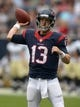 Aug 25, 2013; Houston, TX, USA; Houston Texans quarterback T.J. Yates (13) throws a pass against the New Orleans Saints at Reliant Stadium. Mandatory Credit: Kirby Lee-USA TODAY Sports