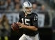 Aug 23, 2013; Oakland, CA, USA; Oakland Raiders quarterback Matt Flynn (15) throws a pass against the Chicago Bears at O.co Coliseum. Mandatory Credit: Kirby Lee-USA TODAY Sports