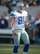 Aug 4, 2013; Canton, OH, USA; Dallas Cowboys long snapper Louis-Philippe Ladouceur (91) during the 2013 Hall of Fame Game against the Miami Dolphins at Fawcett Stadium. The Cowboys defeated the Dolphins 24-20. Mandatory Credit: Kirby Lee-USA TODAY Sports