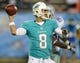 Aug 4, 2013; Canton, OH, USA; Miami Dolphins quarterback Matt Moore (8) throws a pass during the 2013 Hall of Fame Game against the Dallas Cowboys at Fawcett Stadium. The Cowboys defeated the Dolphins 24-20. Mandatory Credit: Kirby Lee-USA TODAY Sports