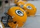 Aug 23, 2013; Green Bay, WI, USA; Green Bay Packers helmets sit on the field during the game against the Seattle Seahawks at Lambeau Field.  Seattle won 17-10.  Mandatory Credit: Jeff Hanisch-USA TODAY Sports