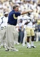 Aug 31, 2013; Atlanta, GA, USA; Georgia Tech Yellow Jackets head coach Paul Johnson yells at an official against the Elon Phoenix in the first quarter at Bobby Dodd Stadium. Mandatory Credit: Brett Davis-USA TODAY Sports