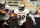 Aug 31, 2013; Hattiesburg, MS, USA; Texas State Bobcats running back Chris Nutall (30) runs with the football against the Southern Miss Golden Eagles in the second quarter at M.M. Roberts Stadium. Mandatory Credit: Chuck Cook-USA TODAY Sports