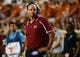 Aug 31, 2013; Austin, TX, USA; New Mexico State Aggies head coach Doug Martin reacts against the Texas Longhorns during the first half at Darrell K Royal-Texas Memorial Stadium. Mandatory Credit: Brendan Maloney-USA TODAY Sports