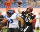 Aug 31, 2013; San Diego, CA, USA; San Diego State Aztecs quarterback Adam Dingwell (6) passes the ball during the first half against the Eastern Illinois Panthers at Qualcomm Stadium. Mandatory Credit: Christopher Hanewinckel-USA TODAY Sports