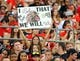 Aug 31, 2013; San Diego, CA, USA; A fan in the San Diego State Aztecs student section holds a sign during the first half against the Eastern Illinois Panthers at Qualcomm Stadium. Mandatory Credit: Christopher Hanewinckel-USA TODAY Sports