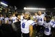 Aug 31, 2013; San Diego, CA, USA; Eastern Illinois Panthers receiver Erik Lora (8) celebrates following a 40-18 win against the San Diego State Aztecs at Qualcomm Stadium. Mandatory Credit: Christopher Hanewinckel-USA TODAY Sports