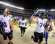 Aug 31, 2013; San Diego, CA, USA; Eastern Illinois Panthers players celebrate following a 40-18 win against the San Diego State Aztecs at Qualcomm Stadium. Mandatory Credit: Christopher Hanewinckel-USA TODAY Sports