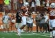 Aug 31, 2013; Austin, TX, USA; Texas Longhorns corner back Carrington Byndom (23) reacts against the New Mexico State Aggies during the first half at Darrell K Royal-Texas Memorial Stadium. Texas beat New Mexico State 56-7. Mandatory Credit: Brendan Maloney-USA TODAY Sports