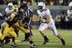 Aug 31, 2013; Berkeley, CA, USA; Northwestern Wildcats linebacker Collin Ellis (45) during the fourth quarter against the California Golden Bears at Memorial Stadium. Northwestern won 44-30. Mandatory Credit: Kelley L Cox-USA TODAY Sports