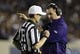 Aug 31, 2013; Berkeley, CA, USA; Northwestern Wildcats head coach Pat Fitzgerald speaks with referee Land Clark during the third quarter against the California Golden Bears at Memorial Stadium. Northwestern won 44-30. Mandatory Credit: Kelley L Cox-USA TODAY Sports
