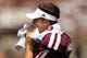 Aug 31, 2013; College Station, TX, USA; Texas A&M Aggies quarterback Johnny Manziel (2) wipes his face against the Rice Owls during the second quarter at Kyle Field. Mandatory Credit: Thomas Campbell-USA TODAY Sports