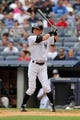 Aug 31, 2013; Bronx, NY, USA; New York Yankees right fielder Ichiro Suzuki (31) bats against the Baltimore Orioles during a game at Yankee Stadium. Mandatory Credit: Brad Penner-USA TODAY Sports