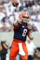Aug 31, 2013; East Rutherford, NJ, USA; Syracuse Orange quarterback Drew Allen (8) throws a pass during the first quarter against the Penn State Nittany Lions at MetLife Stadium.  Penn State defeated Syracuse 23-17.  Mandatory Credit: Rich Barnes-USA TODAY Sports