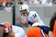 Aug 31, 2013; East Rutherford, NJ, USA; Penn State Nittany Lions quarterback Christian Hackenberg (14) calls a play at the line during the first quarter against the Syracuse Orange at MetLife Stadium.  Penn State defeated Syracuse 23-17.  Mandatory Credit: Rich Barnes-USA TODAY Sports