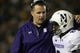 Aug 31, 2013; Berkeley, CA, USA; Northwestern Wildcats head coach Pat Fitzgerald speaks with cornerback Dwight White (2) after allowing a touchdown catch by the California Golden Bears during the third quarter at Memorial Stadium. The Northwestern Wildcats defeated the California Golden Bears 44-30. Mandatory Credit: Kelley L Cox-USA TODAY Sports