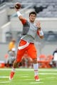 Aug 31, 2013; East Rutherford, NJ, USA; Syracuse Orange quarterback Drew Allen (8) warms up prior to the game against the Penn State Nittany Lions at MetLife Stadium.  Penn State defeated Syracuse 23-17.  Mandatory Credit: Rich Barnes-USA TODAY Sports
