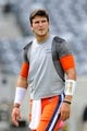 Aug 31, 2013; East Rutherford, NJ, USA; Syracuse Orange quarterback Drew Allen (8) looks on prior to the game against the Penn State Nittany Lions at MetLife Stadium.  Penn State defeated Syracuse 23-17.  Mandatory Credit: Rich Barnes-USA TODAY Sports