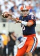 Aug 31, 2013; East Rutherford, NJ, USA; Syracuse Orange quarterback Drew Allen (8) prepares to pass the ball during the first quarter against the Penn State Nittany Lions at MetLife Stadium.  Penn State defeated Syracuse 23-17.  Mandatory Credit: Rich Barnes-USA TODAY Sports