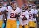 Aug 29, 2013; Honolulu, HI, USA; Southern California Trojans safety Su'a Cravens (21) and cornerback Kevon Seymour (13) celebrate after an interception in the first quarter against the Hawaii Rainbow Warriors at Aloha Stadium. Mandatory Credit: Kirby Lee-USA TODAY Sports