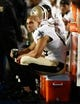 Aug 29, 2013; Miami Gardens, FL, USA; New Orleans Saints tight end Jimmy Graham (80) on the bench in the second quarter of a game against the Miami Dolphins at Sun Life Stadium. Mandatory Credit: Robert Mayer-USA TODAY Sports