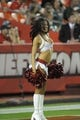 Aug 29, 2013; Kansas City, MO, USA; A Kansas City Chiefs cheerleader performs for the crowd during the game against the Green Bay Packers at Arrowhead Stadium. The Chiefs won 30-8. Mandatory Credit: Denny Medley-USA TODAY Sports
