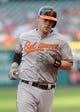 Sep 2, 2013; Cleveland, OH, USA; Baltimore Orioles catcher Matt Wieters (32) rounds the bases after a two-run home run against the Cleveland Indians during the ninth inning at Progressive Field. The Orioles beat the Indians 7-2. Mandatory Credit: Ken Blaze-USA TODAY Sports
