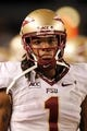 Sep 2, 2013; Pittsburgh, PA, USA; Florida State Seminoles wide receiver Kelvin Benjamin (1) looks on from the sidelines against the Pittsburgh Panthers during the fourth quarter at Heinz Field. The Florida State Seminoles won 41-13. Mandatory Credit: Charles LeClaire-USA TODAY Sports