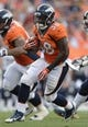 Aug 24, 2013; Denver, CO, USA; Denver Broncos running back Montee Ball (38) runs during the first quarter against the St. Louis Rams at Sports Authority Field . Mandatory Credit: Ron Chenoy-USA TODAY Sports