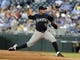 Sep 3, 2013; Kansas City, MO, USA; Seattle Mariners starting pitcher Erasmo Ramirez (50) delivers a pitch against the Kansas City Royals in the first inning at Kauffman Stadium. Mandatory Credit: John Rieger-USA TODAY Sports