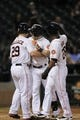 Sep 3, 2013; Houston, TX, USA; Houston Astros center fielder Brandon Barnes (2) celebrates hitting a three-run home run to tie the game with first baseman Brett Wallace (29) and right fielder L.J. Hoes (28) during the ninth inning against the Minnesota Twins at Minute Maid Park. Mandatory Credit: Thomas Campbell-USA TODAY Sports