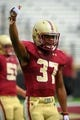 Aug 31, 2013; Boston, MA, USA; Boston College Eagles wide receiver Drew Barksdale (37) gets the crowd ready during pre game warmups before a game against the Villanova Wildcats at Alumni Stadium. Mandatory Credit: Bob DeChiara-USA TODAY Sports