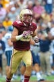 Aug 31, 2013; Boston, MA, USA; Boston College Eagles running back David Dudeck (26) jogs off the field during the first half against the Villanova Wildcats at Alumni Stadium. Mandatory Credit: Bob DeChiara-USA TODAY Sports
