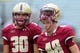 Aug 31, 2013; Boston, MA, USA; Boston College Eagles kicker Joey Launceford (30) and kicker Jake Wilhelm (48) during pre game prior to a game against the Villanova Wildcats at Alumni Stadium. Mandatory Credit: Bob DeChiara-USA TODAY Sports