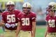 Aug 31, 2013; Boston, MA, USA; Boston College Eagles long snapper Michael Fischer (56) kicker Joey Launceford (30) and kicker Jake Wilhelm (48) during pre game warmups prior to a game against the Villanova Wildcats at Alumni Stadium. Mandatory Credit: Bob DeChiara-USA TODAY Sports