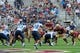 Aug 31, 2013; Boston, MA, USA; Boston College Eagles quarterback Chase Rettig (11) over center during the first half against the Villanova Wildcats at Alumni Stadium. Mandatory Credit: Bob DeChiara-USA TODAY Sports