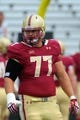 Aug 31, 2013; Boston, MA, USA; Boston College Eagles offensive linesman Matt Patchan (77) prior to a game against the Villanova Wildcats at Alumni Stadium. Mandatory Credit: Bob DeChiara-USA TODAY Sports