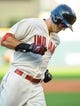 Sep 2, 2013; Cleveland, OH, USA; Cleveland Indians third baseman Lonnie Chisenhall (8) rounds the bases after hitting a home run against the Baltimore Orioles  at Progressive Field. Mandatory Credit: Ken Blaze-USA TODAY Sports