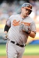 Sep 2, 2013; Cleveland, OH, USA; Baltimore Orioles catcher Matt Wieters (32) rounds the bases after hitting a home run against the Cleveland Indians at Progressive Field. Mandatory Credit: Ken Blaze-USA TODAY Sports
